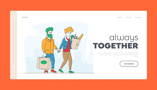 Happy couple moving from grocery store or supermarket landing page template.