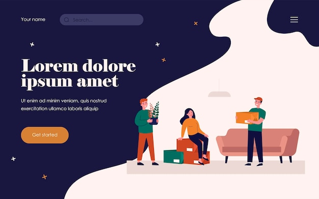 Happy couple moving into new apartment. stack of boxes, loader, interior flat vector illustration. new home, property buying, relocation concept for banner, website design or landing web page