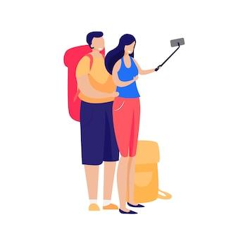 Selfieを取って観光客の幸せなカップル
