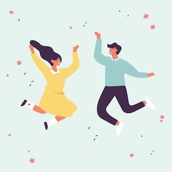 젊은 사람들의 행복 한 커플은 뛰어 오르고있다. 젊은이들이 함께 축하하고 있습니다. 플랫 스타일의 그림.