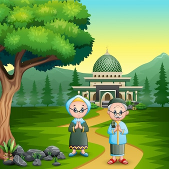 Happy couple old muslim greeting for eid mubarak