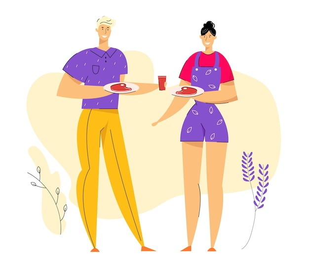 Счастливая пара на барбекю, едят мясо на гриле. барбекю в парке с персонажами-мужчинами и женщинами, проводящими свободное время.