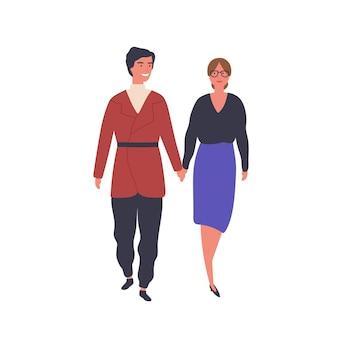 散歩フラットベクトルイラストの幸せなカップル。若い男と女は、漫画のキャラクターを手に持って歩きます。ロマンチックな関係、デートのデザイン要素。夫婦、配偶者は一緒に時間を過ごします。