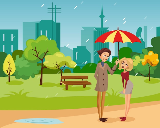 Happy couple under one big striped umbrella walking in the park, rainy weather concept cartoon   illustration