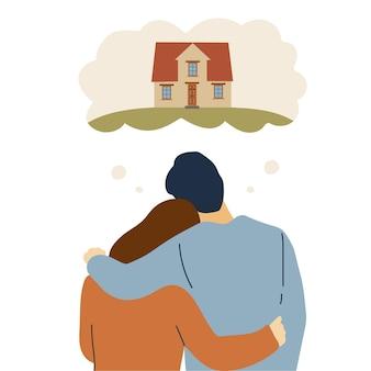 평평한 스타일의 집을 사는 것에 대해 생각하는 행복한 커플이나 젊은 가족