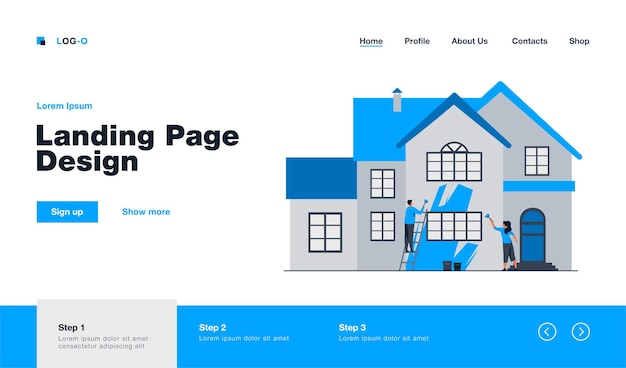 Happy couple painting house facade. ladder, home, renewal flat  illustration. renovation or construction concept website design or landing web page