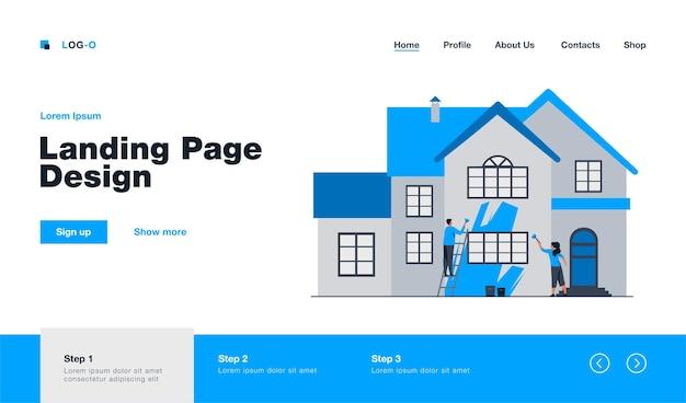 幸せなカップルの絵画の家のファサード。はしご、家、リニューアルフラットイラスト。リノベーションまたは建設コンセプトのウェブサイトのデザインまたはランディングウェブページ