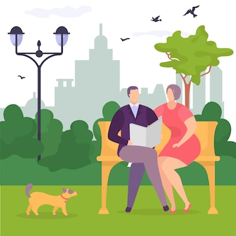 Happy couple in park on bench, dog is walking nearby, happy young man and girl, design, cartoon style  illustration.