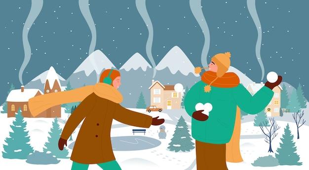 Счастливая пара людей любит рождественские зимние виды спорта