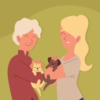 幸せなカップルのペット