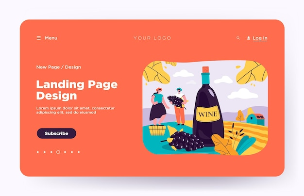 Happy couple producing natural wine isolated landing page