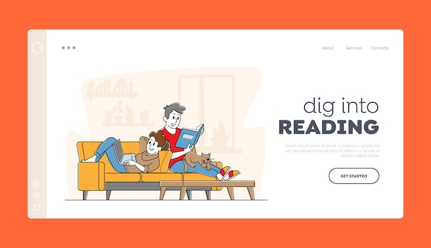 Happy couple relaxing together at home landing page template.