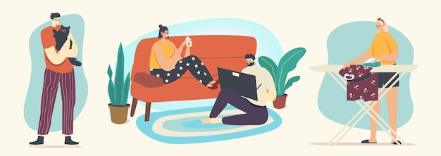 Happy couple relaxing together at home sitting on sofa make appliques and painting. male and female characters spend time on weekend, girl ironing, man play with cat. linear people vector illustration
