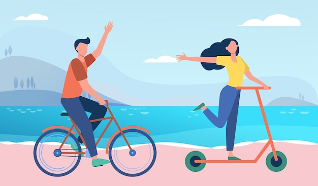 Happy couple riding bike and scooter outdoors. people moving along seaside flat illustration.