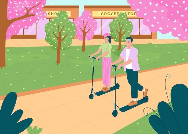 Счастливая пара на электрических скутерах плоские цветные рисунки