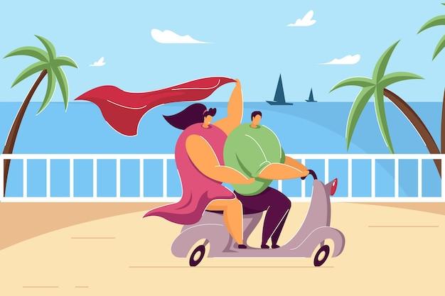 夏休みにバイクに乗って幸せなカップル。フラットベクトルイラスト。海沿いの道路でスクーターに乗って、原付でロマンチックな旅行をする漫画の若い男と少女。旅行、恋愛、愛、海のコンセプト