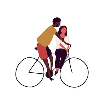 一緒に自転車に乗って幸せなカップルは、白い背景で隔離。自転車のベクトルフラットイラストの漫画の男性と女性。多様な人々のサイクリストがペダル車に乗ります。