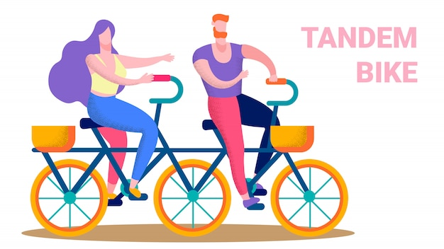 Happy couple riding tandem bike flat text banner