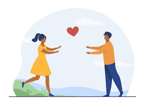お互いに走っている幸せなカップル。愛、ガールフレンド、ハートフラットイラスト。漫画イラスト