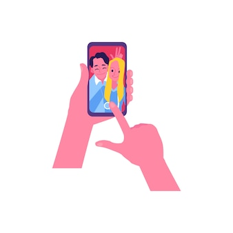 Счастливая пара селфи на экране телефона