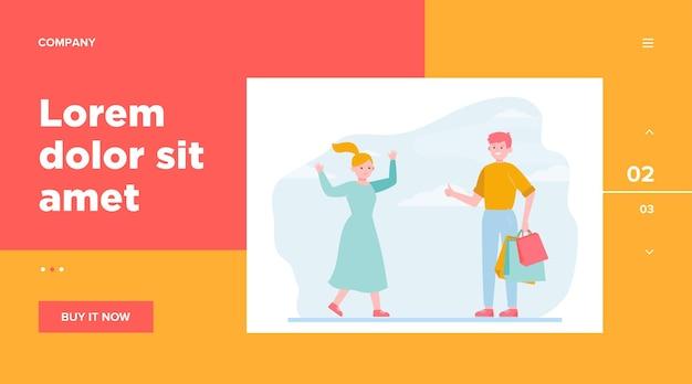 幸せなカップルが一緒に買い物に。サポート、バッグ、フラットのベクトル図を選択します。 。関係と家族の概念のウェブサイトのデザインまたはランディングwebページ