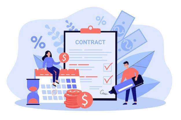 ローン契約に署名する幸せなカップルは、フラットなイラストを分離しました。銀行の信用を取り、お金を稼ぐ漫画のグラフィックの男性と女性。住宅ローンと簡単なクレジットプログラムの概念