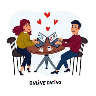 노트북과 카페에 앉아 행복 한 커플