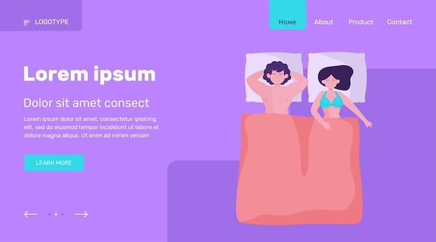 Счастливая пара вместе спать. кровать, комфорт, любовь плоские векторные иллюстрации. дизайн веб-сайта концепции семьи и отношений или целевая веб-страница