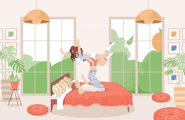 Счастливая пара вместе проводить время в постели плоской иллюстрации. современный дизайн интерьера спальни.