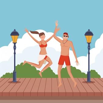 Happy couple in summer cartoons