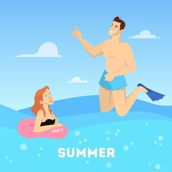 Счастливая пара, купание в море. летний отпуск