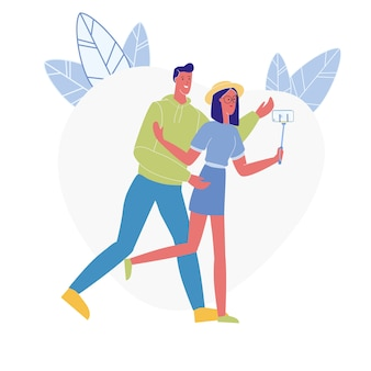 Happy couple taking photo flat vector illustration