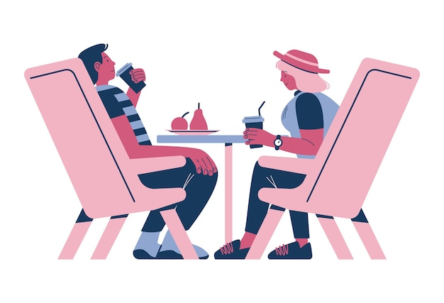 Happy couple taking rest sitting at table in cafe enjoying coffee drink flat vector illustration cof...