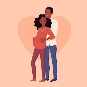 一緒に幸せなカップル、愛を込めて妻の腹を抱き締める夫、かなり未来の母と父