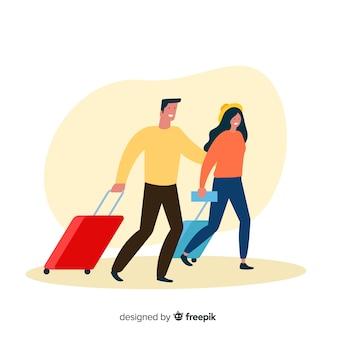Happy couple traveling flat style