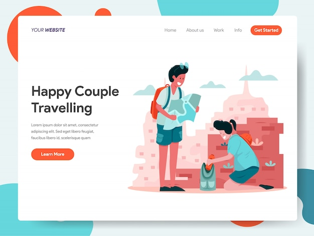 Happy couple travelling banner for landing page