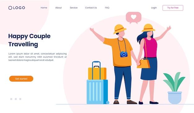 Счастливая пара путешествует по сайту целевой страницы