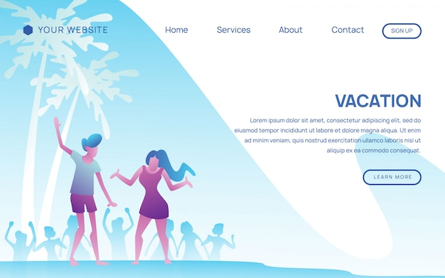 Happy couple in vacation landing page template