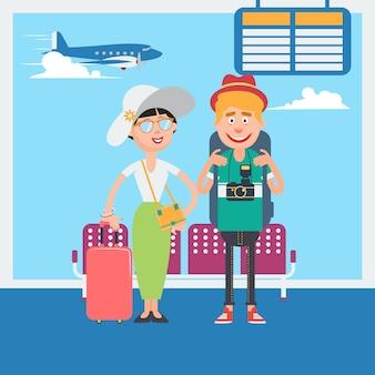 Счастливая пара в ожидании отправления на отдых в аэропорту. векторная иллюстрация Premium векторы