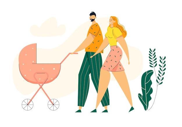 乳母車と公園を歩く幸せなカップル。ベビーカーと新生児とのファミリーウォーク。母と父のキャラクターは屋外で一緒に時間を過ごします。