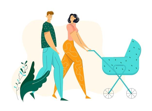 乳母車と公園を歩く幸せなカップル。ベビーカーと新生児とのファミリーウォーク。母と父のキャラクターは、屋外の子供と一緒に時間を過ごします。