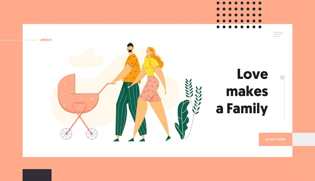Happy couple walking in park with pram landing page