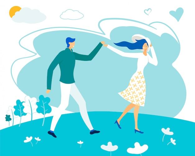 Happy couple walking or running along green field
