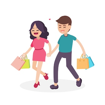 Happy couple with colorful shopping bags
