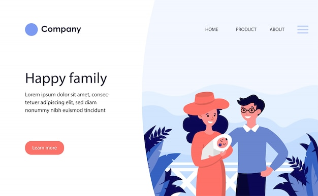 Happy couple with newborn child on vacation. website template or landing page