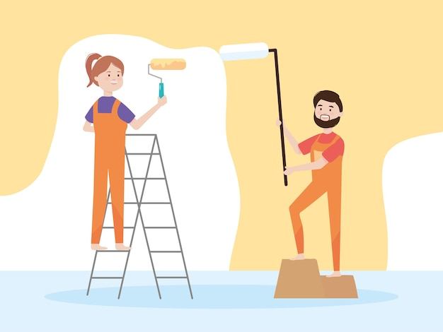 Happy couple with paint rollers and yellow color wall  illustration remodeling