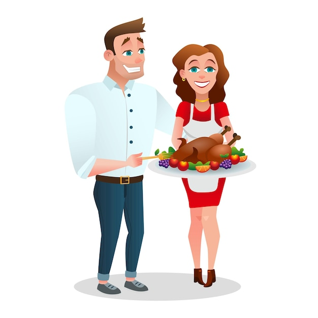 구운 칠면조와 함께 행복 한 커플입니다. 추수 감사절을 축하하는 가족. 벡터 일러스트 레이 션
