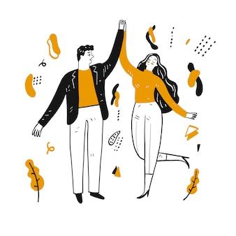 Счастливые пары танцуют