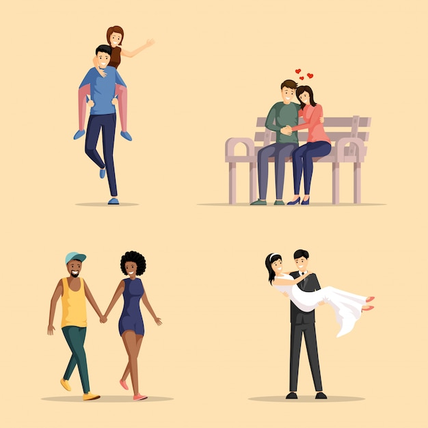 Happy couples illustrations set. men and women in love bonding together cartoon characters pack.