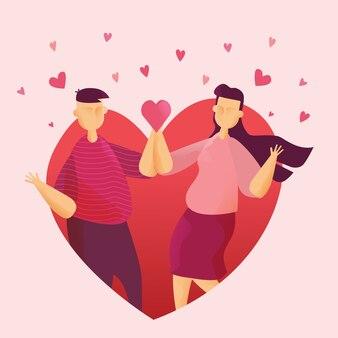 Счастливые пары в сердце на день святого валентина фестиваль и сердце розовый фон.